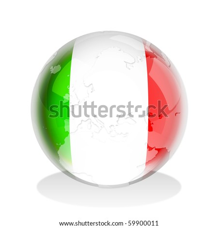 Illustration of a glass sphere with Italian flag and world map in it