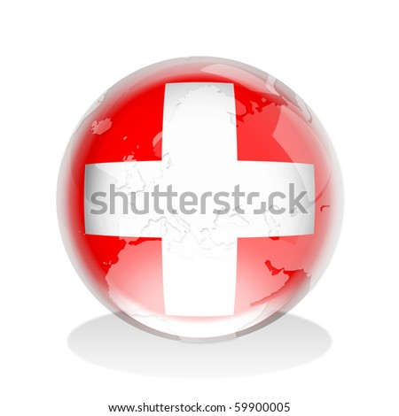 Illustration of a glass sphere with Switzerland flag and world map in it - stock photo