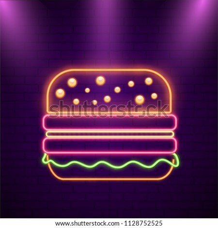 Illustration of a gloosy burger on purple brick wall in neon effect. - Shutterstock ID 1128752525