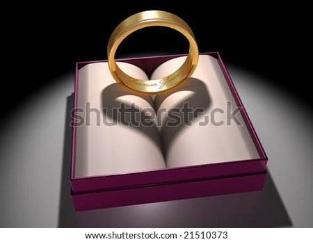 Illustration of a gold ring with a heart-shaped shadow