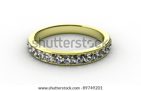 Illustration of a gold ring with many brilliants