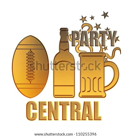 illustration of a golden american football ball,beer bottle,glass mug and potato chips bowl done in metallic gold style on isolated white background with words party central