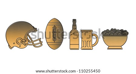illustration of a golden american football helmet.ball,beer bottle,glass mug and potato chips bowl done in metallic gold style on isolated white background.