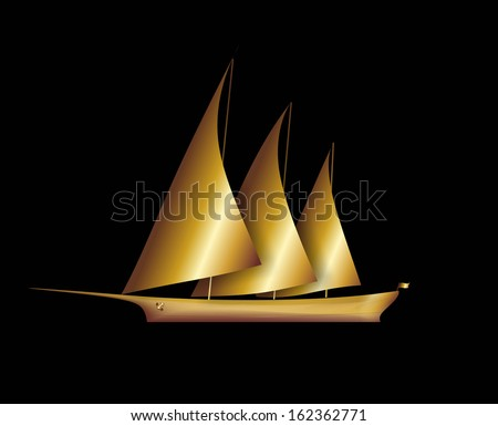 illustration of a golden sailboat with three masts