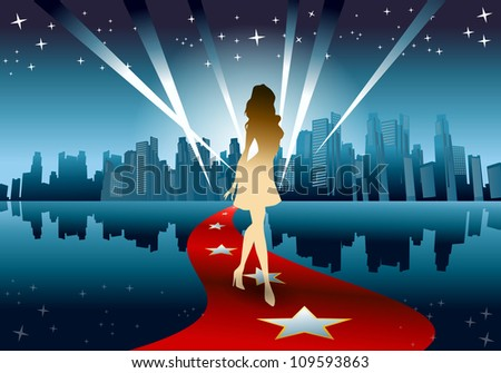 illustration of a golden silhouette woman walking from city