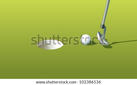 Illustration of a golf ball near the hole - EPS VECTOR format also available in my portfolio. - stock photo