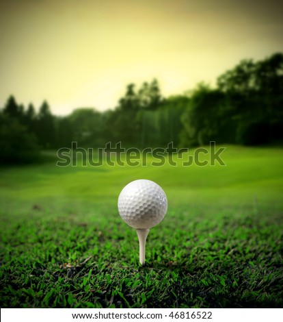 Illustration of a golf ball on a green meadow - stock photo