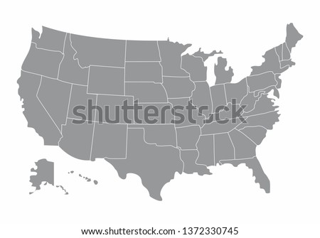 Illustration of a gray USA Map with states borders