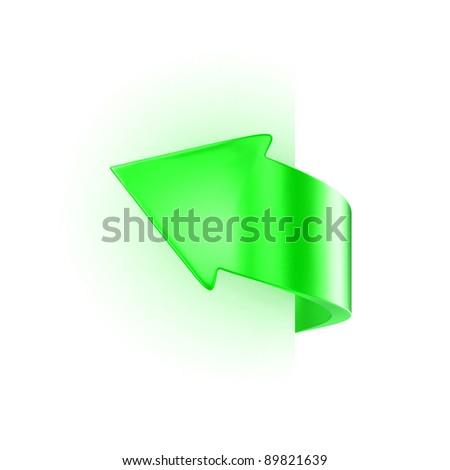 Illustration of a green arrow near sheet of paper