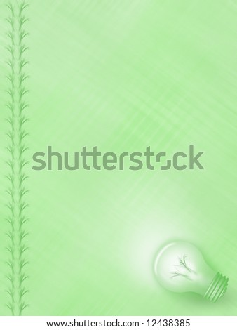Illustration of a green background with lightbulb and border, frame design and background texture. Versatile for a variety of environment, other projects - stock photo