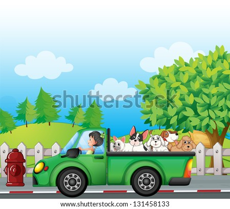 Illustration of a green car along the street with dogs at the back