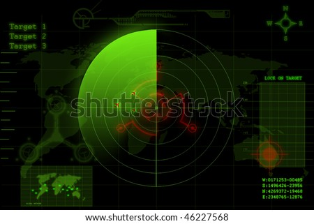 illustration of a green radar screen