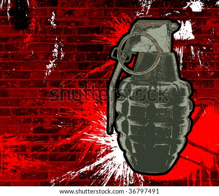 Illustration of a grenade on a grunge background.