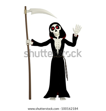Illustration of a grim reaper isolated on a white background