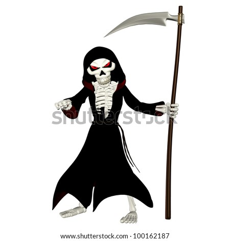 Illustration of a grim reaper isolated on a white background - stock photo