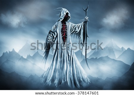 Stock Photo Illustration of a Grim Reaper or fantasy evil spirit with a mountain background. Digital painting.