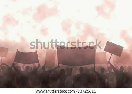 Illustration of a group of angry protesters