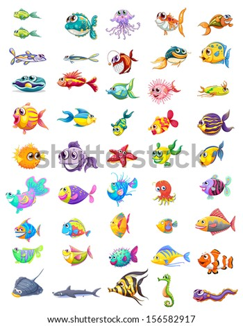 Illustration of a group of different fishes on a white background