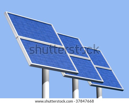 Illustration of a group of solar panels on a clear sunny day