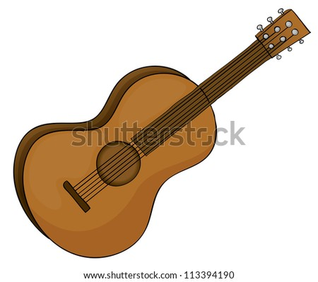 illustration of a guitar in white background