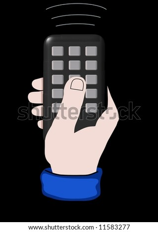 Illustration of a hand holding a remote control