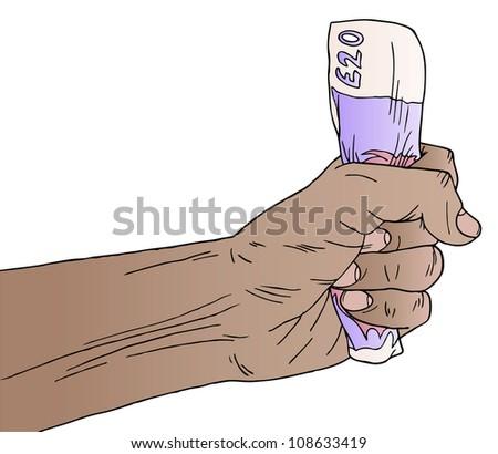 Illustration of a hand holding English money