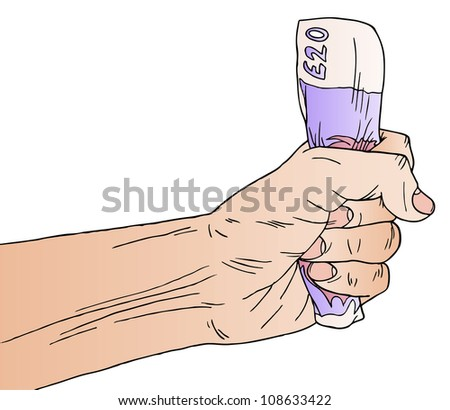 Illustration of a hand holding English money