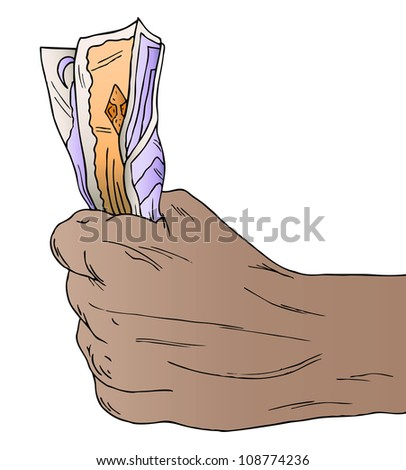 Illustration of a hand holding money - stock photo