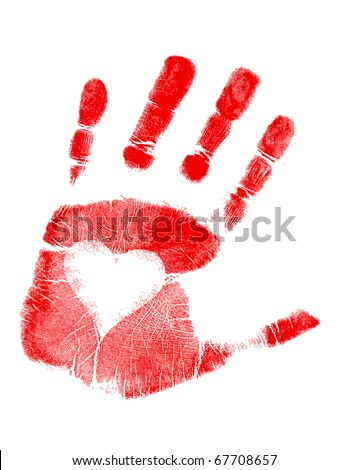 Illustration of a hand-print with a heart. Vector available. / love Hand print