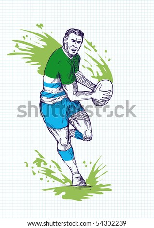 illustration of a hand sketch  Rugby player running and passing ball with grid in the background.