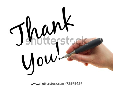 Illustration of a hand with a pen writing Thank You note on white paper background