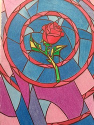 Illustration of a handmade mosaic rose inspired by