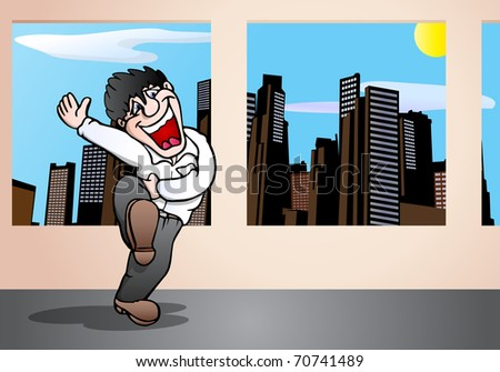 illustration of a happy businessman laughing out loud at something