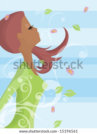 Illustration of a happy woman breathing in the springs wind