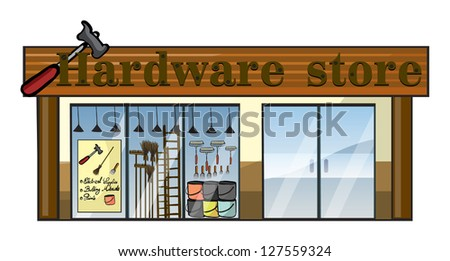 Illustration of a hardware store on a white background