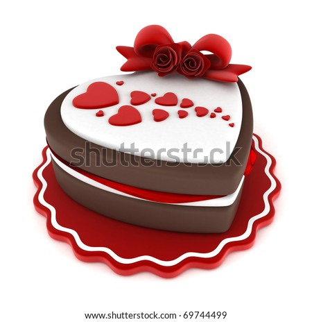 of a Heart-shaped Cake Adorned with a Ribbon and Heart-shaped Frosting