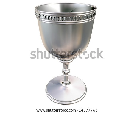 Illustration of a highly polished antique silver goblet