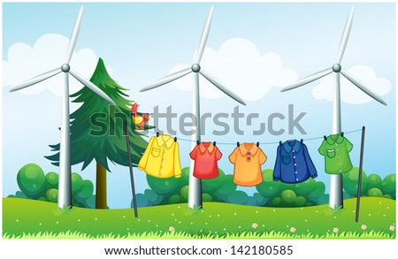 Illustration of a hilltop with hanging clothes and windmills