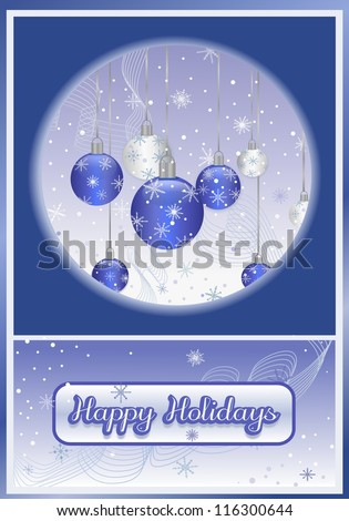 Illustration of a Holiday Greetings Design of snowflakes and holiday ornaments.