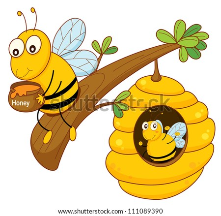 illustration of a honey bee and comb on white