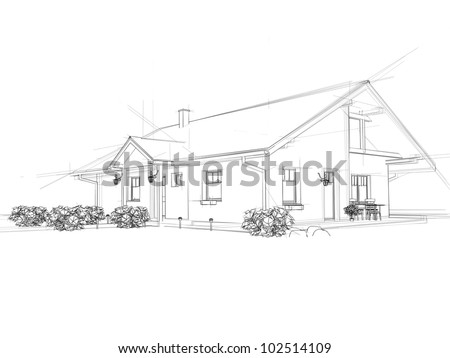 Illustration of a house. Black ink drawing.