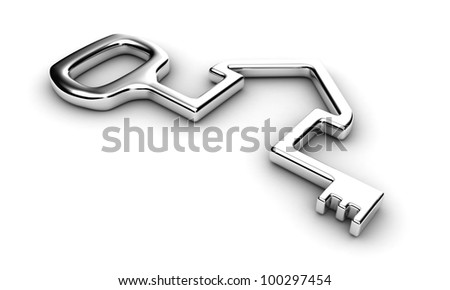 Illustration of a house key on a white background