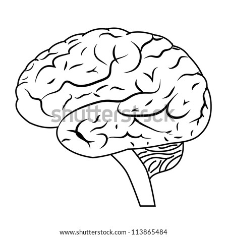 94252282 Shutterstock Human Brain Vintage Engraved on computer diagram symbols