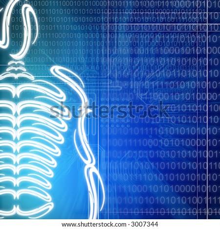 illustration of a human skeleton on technology background