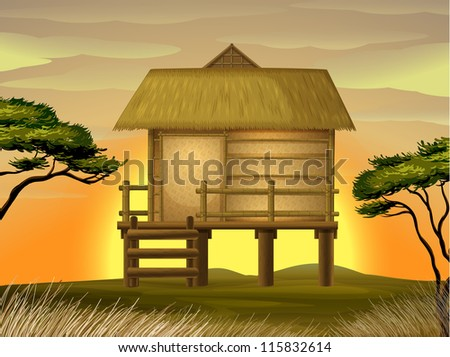 illustration of a hut in beautiful nature