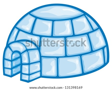 illustration of a igloo (cartoon illustration of a igloo, icon igloo, white snow igloo, igloo illustration)