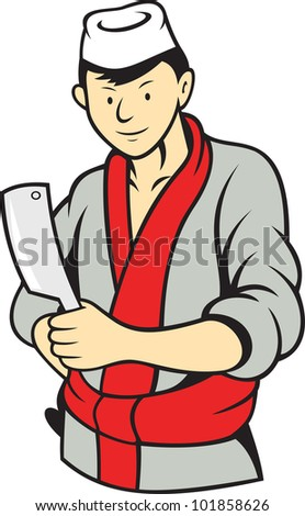 Illustration of a Japanese butcher cutter with meat cleaver knife done in cartoon style.
