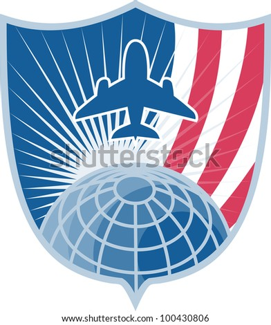 Illustration of a jumbo jet plane taking off with globe set inside shield with stripes done in retro style.