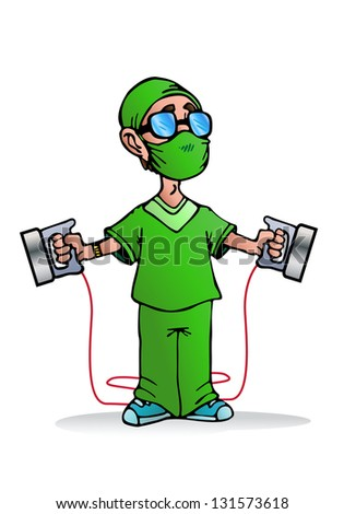 illustration of a kind and friendly doctor ready to use heart pacemaker machine on a patient