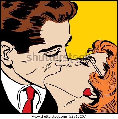 Illustration of a kissing couple in a pop art/comic style